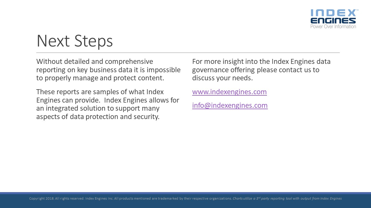 For more insight into the Index Engines data governance offering please contact us to discuss your needs.