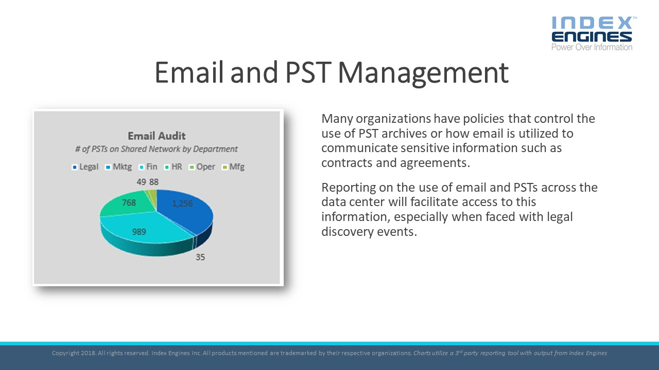 Reporting on the use of email and PSTs across the data center will facilitate access to this information, especially when faced with legal discovery events.